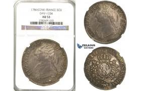 """Lot: 2382. France, Louis XVI, 1774-1792, Ecu 1786 """"Cow"""", Pau, Silver, NGC AU53"""