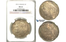 2404. France, Second Republic, 1848­-1852 , 5 Francs 1851-­A, Paris, Silver, NGC MS63