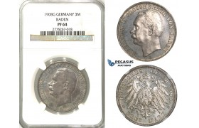 2462. Germany, Empire, local coinage, Baden, 3 Mark 1908­-G, Stuttgart, Silver, NGC PF64