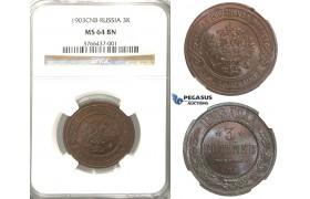 Lot: 2954. Russia, Nicholas II, 1894-1918, 3 Kopeks 1903-СПБ, St. Petersburg, Copper, NGC MS64