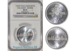 A21, Hungary, Pattern 5 Pengö 1945, Restrike, Rare! NGC MS65