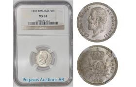 A25, Romania, Carol I, 50 Bani 1910, Silver, NGC MS64