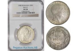 A28, Romania, Carol II, 250 Lei 1940, Silver, NGC AU58