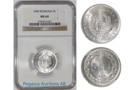 A29, Romania, Peoples Republic, 5 Lei 1949, NGC MS64