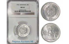 A30, Romania, Peoples Republic, 20 Lei 1951, NGC MS62