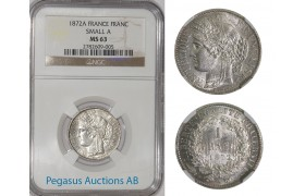 A70, France, Third Republic, CERES, Franc 1872-A (Small A) NGC MS63