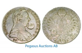 """A86, Mozambique, Maria Theresia, Thaler 1780, Countermark """"PM"""" for Portugal, Very Nice and Rare!"""