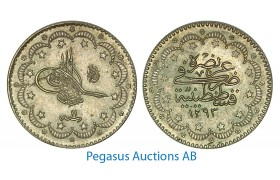 A88, Ottoman Empire/Turkey, Abdul Hamid II, 5 Kurush AH1293/11, Silver, UNC!