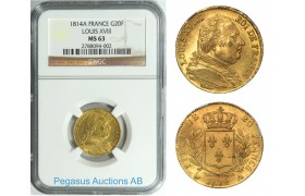 A95, France, Louis XVIII, 20 Francs 1814-A, Gold, NGC MS63