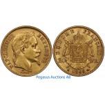 A96, France, Napoleon III, 20 Francs 1869-A, Gold, 6.45g. 0.900, Nice!