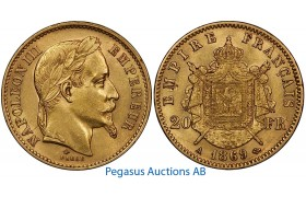 A96, France, Napoleon III, 20 Francs 1869-A, Gold, 6.45g. 0.900, Nice!