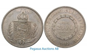 A98, Brazil, Pedro II, 2000 Reis 1855, Silver Crown, Nice!