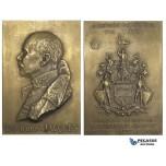 AA001 Belgium, 1921 Bronze Plaque Medal (70x47mm, 97.3g) by Bremaecker, Arabian Campaign, Lt. Baron Jacques, WW1