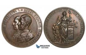 AA013, Serbia & Turkey, Bronze Medal 1865 (Ø44mm, 42g) by Seidan, Liberation from Ottoman Rule, RR!!