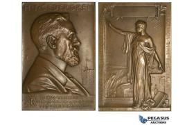 AA017, Sweden, Bronze Art Nouveau Plaque Medal 1908 (76x52mm, 133g) by Lindberg, Electricity, Cedergren