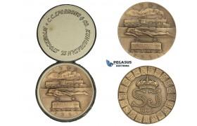AA021 Sweden, Art Deco Bronze Medal 1931 (Ø50mm, 45.6g) by Sporrong & Co., Train, Railroad