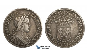 AA027, France, Louis XIV, 1/2 Ecu 1649-A, Paris, Silver, VF-XF