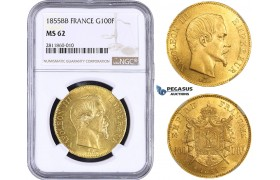 AA028, France, Napoleon III, 100 Francs 1855-BB, Strasbourg, NGC MS62, Pop 2/0, No finer! Rare!