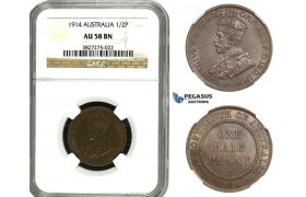 AA100, Australia, George V, Half Penny 1914, NGC AU58BN