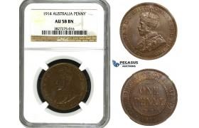 AA101 Australia, George V, Penny 1914, NGC AU58BN, Rare!