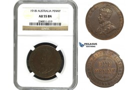 AA102, Australia, George V, Penny 1918-I, NGC AU55BN