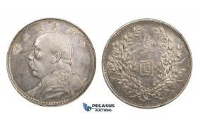 "AA108, China ""Fat man"" Yuan (Dollar) Yr. 3 (1914) Silver, L&M 63, Toned AU, few hairlines"