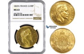 AA115, France, Napoleon III, 100 Francs 1869-A, Paris, Gold, NGC MS63, Rare!