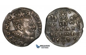 AA120, Lithuania, Sigismund III of Poland, 3 Groschen (Trojak) 1595, Vilnius, Silver (2.34g) Cabinet toning, VF-XF