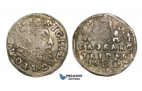 AA122, Lithuania, Sigismund III of Poland, 3 Groschen (Trojak) 1602, Vilnius, Silver (2.28g) Nice toning, VF, Rare!