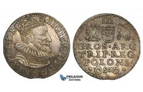 AA130, Poland, Sigismund III, 3 Groschen (Trojak) 1592, Malbork (Marienburg), Silver (2.40g) Rainbow toned AU