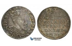 AA132, Poland, Sigismund III, 3 Groschen (Trojak) 1594 I-F, Olkusz, Silver (2.38g) Rainbow toning, VF, Rare!