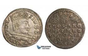 AA135, Poland, Sigismund III, 3 Groschen (Trojak) 1595 I-F, Lublin, Silver (2.21g) Lustrous aXF
