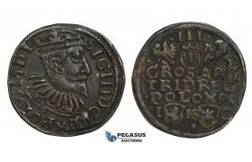 AA136, Poland, Sigismund III, 3 Groschen (Trojak) 1595 I/FS/C, Bydgoszcz (Bromberg), Silver (2.06g) Dark Toning. VF-XF