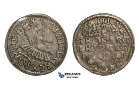 AA137, Poland, Sigismund III, 3 Groschen (Trojak) 1595 I-F, Wschowa (Fraustadt) Silver (2.43g) VF