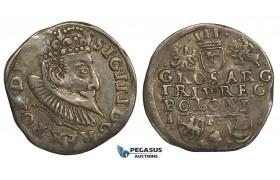 AA142, Poland, Sigismund III, 3 Groschen (Trojak) 1597 I-F/H-R, Poznan (Posen), Silver (2.11g) Dark toning, VF