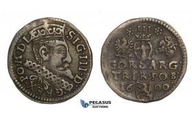"AA144, Poland, Sigismund III, 3 Groschen (Trojak) 1600-B, Bydgoszcz (Bromberg), Silver (1.99g) Cabinet toning, VF-XF, ""GORS"", Rare!"