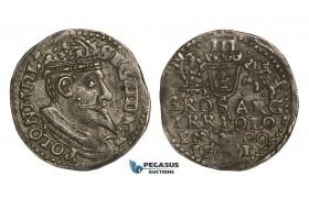 AA145, Poland, Sigismund III, 3 Groschen (Trojak) 1600 IF/I, Olkusz, Silver (2.26g) Toning, XF+