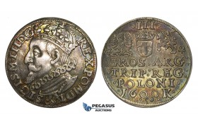AA146, Poland, Sigismund III, 3 Groschen (Trojak) 1600 K, Cracow, Silver (2.39g) Raibow Toning, XF