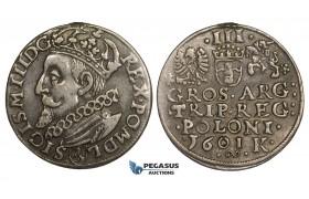 AA147, Poland, Sigismund III, 3 Groschen (Trojak) 1601 K, Cracow, Silver (2.39g) Removed mount, VF