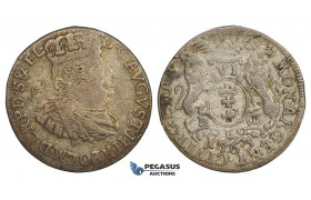 AA152, Poland, Danzig, August III, 6 Groschen (Szostak) 1763, Danzig, Silver (2.65g) Toning, F-VF