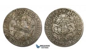 AA153, Poland, Sigismund III, Ort (1/4 Taler) 1625, Danzig, Silver (6.84g) VF-XF