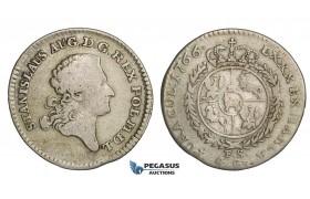 AA156, Poland, Stanislau August, 4 Groschen - 1 Zloty 1766 FS, Warsaw, Silver (5.06g) F-VF