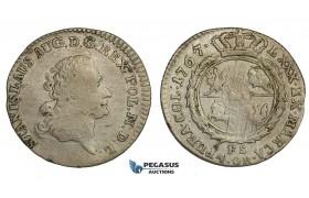 AA157, Poland, Stanislau August, 4 Groschen - 1 Zloty 1767 FS, Warsaw, Silver (5.25g) VF