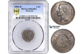 AA161, Sarawak, C. Brooke Rajah, 1/4 Cent 1896-H, Heaton, PCGS SP63BN, Pop 1/1, Rare!