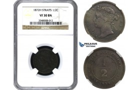AA165, Straits Settlements, Victoria, 1/2 Cent 1872-H, Heaton, NGC VF30BN