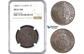 AA392, French Indo-China, 1 Centime 1885-A, Paris, NGC MS61BN