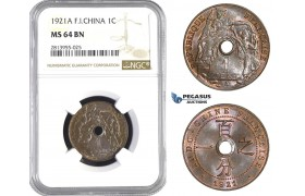 AA395, French Indo-China, 1 Centime 1921-A, Paris, NGC MS64BN