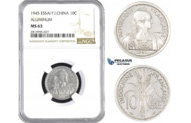 AA397, French Indo-China, ESSAI 10 Centimes 1945, Paris, NGC MS63