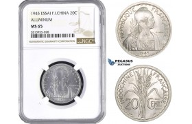 AA398, French Indo-China, ESSAI 20 Centimes 1945, Paris, NGC MS65