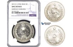 AA406, Iran, Reza Shah, 5 Rials SH1311(1932) Silver, NGC UNC Details